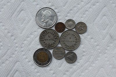 Central America Coins (Costa Rica, Panam, Central America), total 9 coins, 1929-