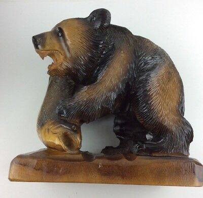 Vintage Black Forest Style Hand Carved Detailed Wooden Bear & Fish Statue