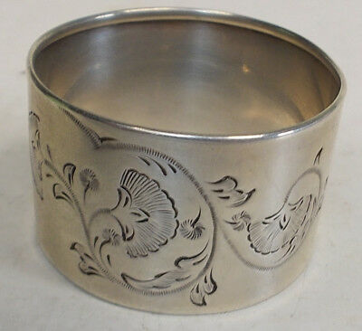 antique sterling silver ETCHED FLOWERS scroll NAPKIN RING  VICTORAIN 1800's