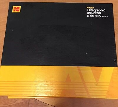 Lot Of 2 Kodak Ektagraphic Universal Slide Tray Model 2 Box 80 Slides Carousel