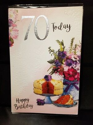 Large Quality Female 70th Birthday Greeting Card Lovely Colours And Verse Cake
