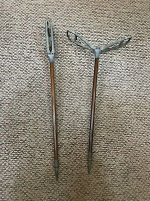 2 Antique walking cane folding spike seat golf racing spectator shooter's stick