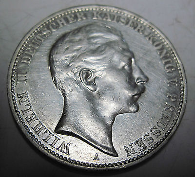 1912 A silver German Prussia 3 mark coin  (#923i)