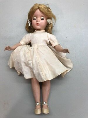 "14"" Alice in Wonderland Vintage Madame Alexander Hard Plastic Doll 1950s TLC"