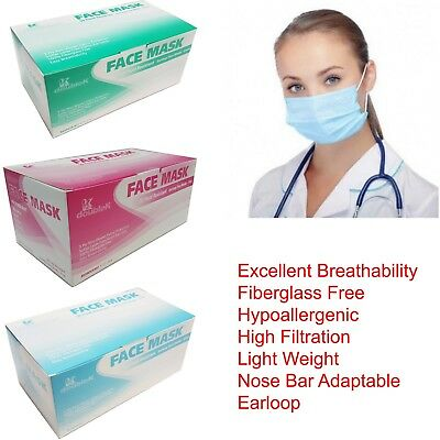 200 pcs 3-Ply Disposable Face Mask Dental Nail Lab Anti-Dust Hospital Medical