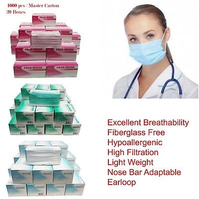 1000 pcs 3-Ply Disposable Face Mask Dental Nail Lab Anti-Dust Hospital Medical