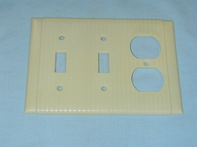 Vintage IVORY UNILINE BAKELITE Ribbed 2 Toggle Wall Light Switch & Outlet Plate