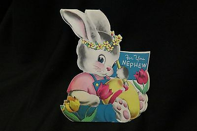 Vintage Rabbit And Egg Easter Card For Nephew 1940S