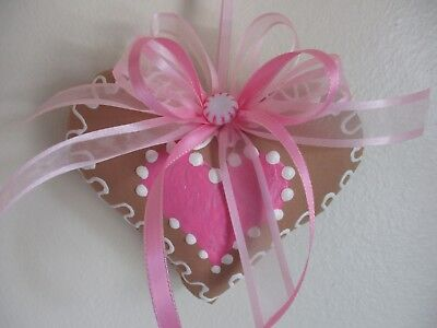 CoLLecTiBLe  HAND PAINTED SHABBY PINK ROSES GINGERBREAD  HearT COOKIE  OrNaMeNT