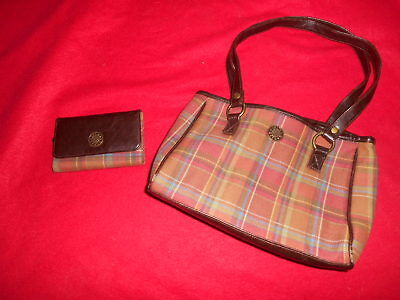 Longaberger Handbag Purse W/ Wallet Brown Checkerboard Board Fall Autumn