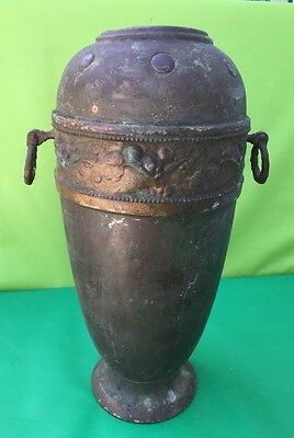 """ANTIQUE Arts And Crafts HAND Solid BRASS VASE GERMANY 🇩🇪. Very Old 12"""" Tall"""