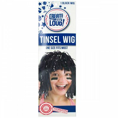 Wholesale Lot of 36 Units Black Tinsel Wig Features a Stretchy Mesh Cap Nice