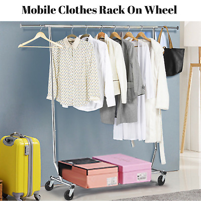 Mobile Clothes Rail Hanger Rack On Wheel Coat Stand DryCleaner Business Adjustab