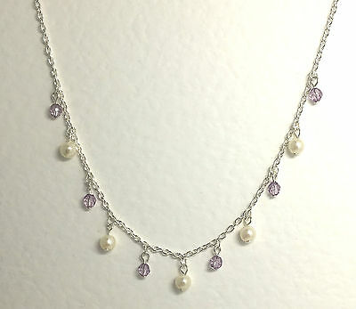 "Pretty Silver Plated Necklace With Pearls & Lilac Purple Crystal Charms 16"" 40Cm"