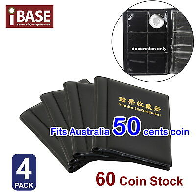 4x COIN HOLDER 60 COLLECTION COLLECTING ALBUM STOCK STORAGE MONEY POCKET BOOK