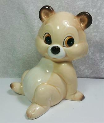 Vintage Ceramic Coin Bank Bear Tan Brown Ivory Woodland Forest Wilderness