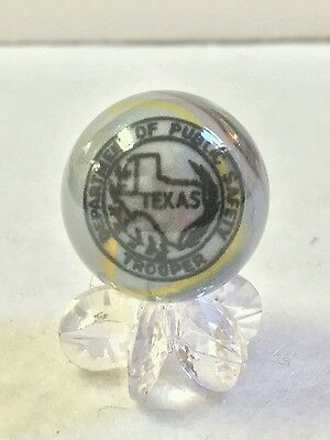 Texas Police Marble State Trooper Dps Collectible One Inch Glass  W/stand