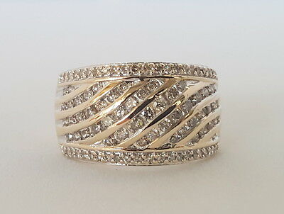 """10K YELLOW GOLD WIDE DIAMOND CLUSTER  RING -VALUED $2207 """"SIZE M""""  TDW 1 Carat"""