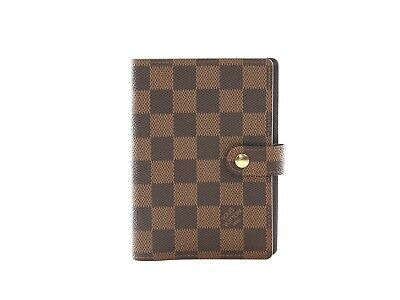 Authentic Louis Vuitton Damier Ebene Small Ring Agenda Cover R20700