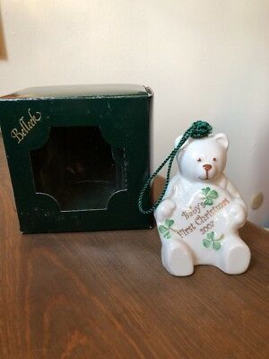 Belleek Porcelain China.  BABY'S FIRST CHRISTMAS Ornament. Bear Bell. New W/ Tag