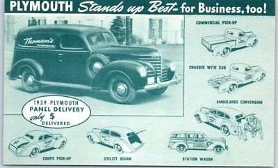 1939 PLYMOUTH Automobile Advertising Postcard Panel Delivery Truck - Unused