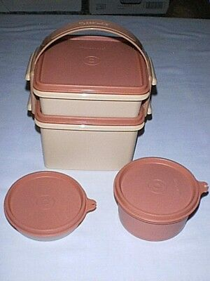 Tupperware QUARTET Lunch Box with Microwave Bowl & Little Wonder DUSTY ROSE PINK