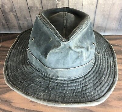 Mens Size XL Waxed Canvas Outback Boonie Hat Brimmed Cap Brown Vtg