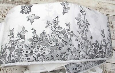POTTERY BARN Kids NEW Reese Organic Baby Crib Bumper Grey White Floral