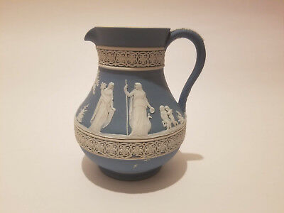 Antique Wedgwood Jasperware Cream Blue Two-Tone Greek Key Pitcher Jug 5 1/2""