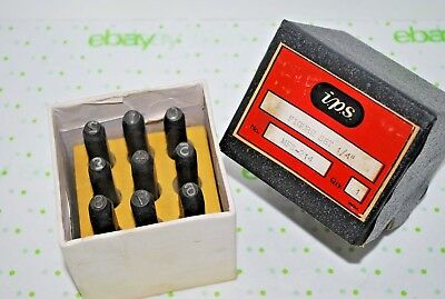 "Vintage Steel Number Punch Stamps Set 1/4"" i.p.s. MFS-214 Used! Nice!"