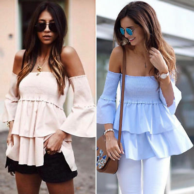 AU Womens Casual Off Shoulder Blouse Top Short Sleeve Floral Loose Tops T Shirt