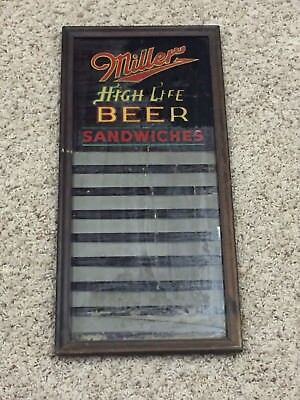 1930s 1940s Miller Beer Sign Reverse On Glass Sandwhich Sign Rare Old Vintage
