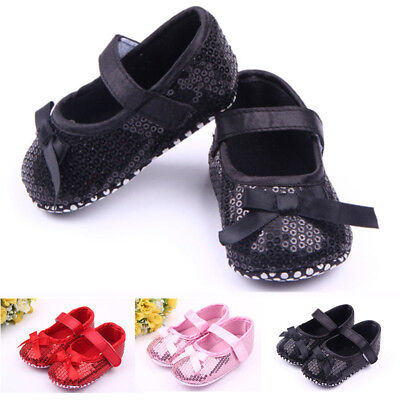 0-12m Newborn Baby Girl Crib Shoes Toddler Sole Casual Anti Slip Shoes Red Pink