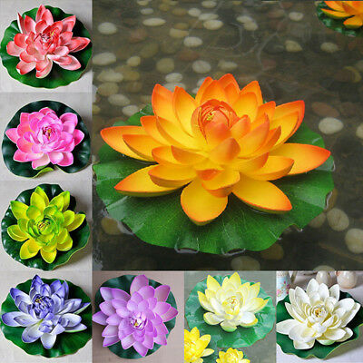 18cm Artificial Lotus Floating Water Lily Flowers Plants Home Decors Pond FU