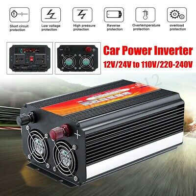 8000W Car Power Inverter 12/24V to 110/220V Sine Wave Converter With Blade Fuses