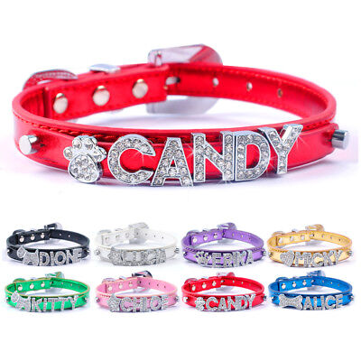 Bling Rhinestone Personalized Puppy Dog Collars Customized FREE Name Charms