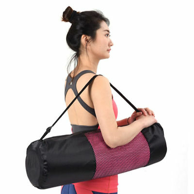 Portable Yoga Pilates Mat Nylon Bag Carrier Mesh Center Adjustable Strap Pop