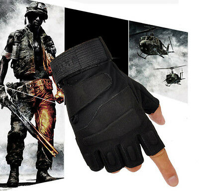 Mens Unisex Fingerless Tactical Assault Gloves Hard Knuckle Army Security Gloves