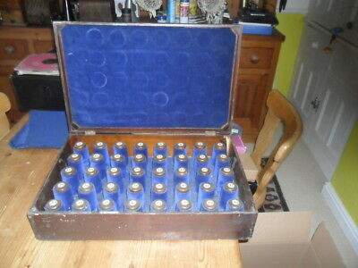 A original  plush lined carrying case with 40 pegs for phonograph cylinders