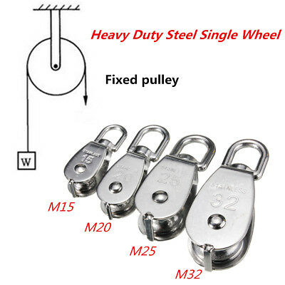 2Pcs 304 M15 M20 M25 M32 Steel Single Wheel Swivel Lifting Rope Pulley Block UK