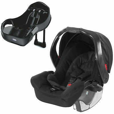 New Midnight Black Graco Junior Group 0+ Car Seat With Auto Carseat Base