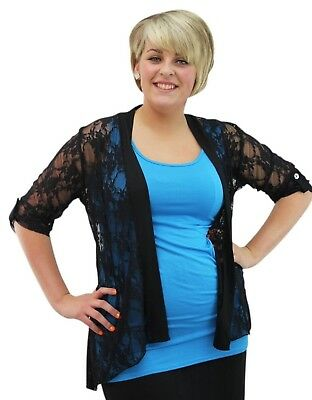 Womens Plus Size Ladies Diamante Button 3/4 Sleeve Lace Waterfall Open Cardigan