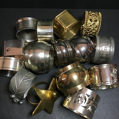 Bulk Lot Of 15 Napkin Rings Silver Plated Brass Metal Vintage Eclectic Mixed