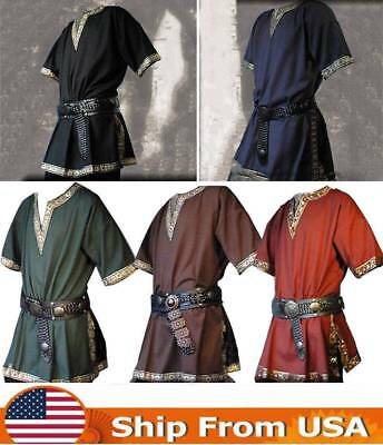 Men Medieval Renaissance Tunic Viking Saxon short sleeve shirt Halloween Cosplay