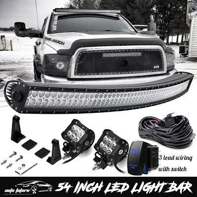 "2004-14 Ford F150/SVT Raptor Upper Roof Mount 54"" Curved LED Light Bar Combo Kit"