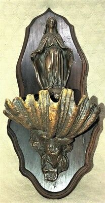 Antique Bronze Figural Virgin Mary Religious Holy Water Font Crucifix Cross Nr