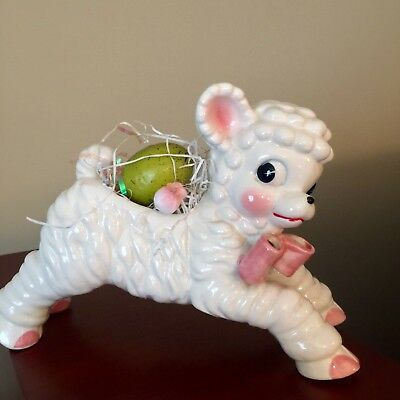 Vintage Lamb Planter Ceramic Baby Kitschy Floral Nursery Decor