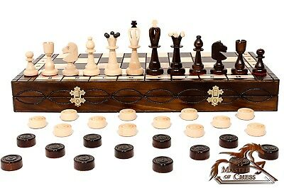 Great HUGE Chess and Draughts TOP QUALITY Wooden Chess Set 50 x 50cm