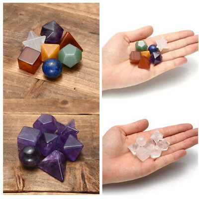 Mixed Chakra Quartz Crystal Amethyst Platonic Sacred Geometry Decor Set Healing