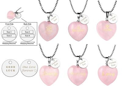 Personalized Chakra Rose Quartz Heart Shaped Round Disc Charm Pendant Necklace